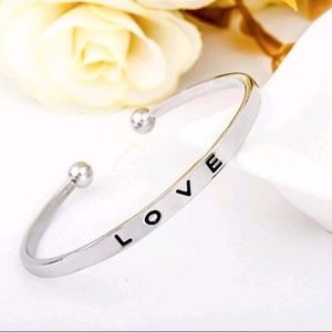 Love Engraved Silver open adjustable Bracelet